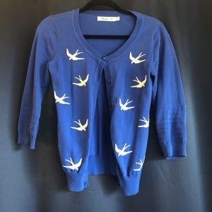 Blue cardigan (swallow print)